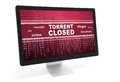 Torrent closed message in computer monitor isolated over white Stock Photo