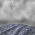 Torrential rain thunderstorm weather illustration merciless rainstorm and high seas Stock Photos