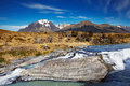Torres del paine national park chile cascada in Royalty Free Stock Photos