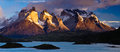 Torres del paine national park lago pehoe and the cuernos at sunrise chile southamerica Royalty Free Stock Image