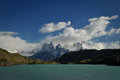 Torres del paine national park a lake in in the patagonia region of chile Royalty Free Stock Photos