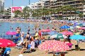 Lot of people sunbath on Playa del cura beach of Torrevieja city. Spain Royalty Free Stock Photo
