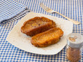 Torrijas typical spanish sweet in lent and easter or holy week over a white plate Royalty Free Stock Photo