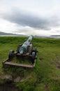Torshavn kanon siktar på skeppet faroe island Arkivbilder