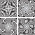 Torsion movement illusion. Set. Royalty Free Stock Photo