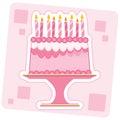 Torta di compleanno dentellare Immagine Stock Libera da Diritti