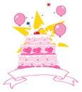 Torta di compleanno dentellare con una ciliegia Fotografia Stock