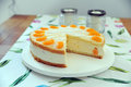 Torte with cream curd and manderines Royalty Free Stock Images