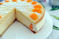 Torte with cream curd and manderines Royalty Free Stock Image