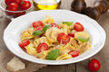 Tortellini with cheese and tomatoes Stock Images