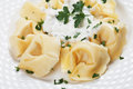 Tortellini pasta in cheese sauce Royalty Free Stock Photo