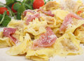 Tortellini Pasta with Parma Ham Royalty Free Stock Photos