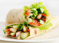 Tortilla chicken wraps with and fresh vegetables Stock Photography