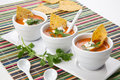 Tortilla chipotle soup closeup of three bowls of fresh hot delicious vegetable garnished with sour cream fresh cilantro and Stock Photos