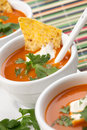 Tortilla chipotle soup closeup of three bowls of fresh hot delicious vegetable garnished with sour cream fresh cilantro and Royalty Free Stock Images