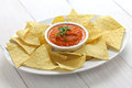 Tortilla chips with dip salsa roja for super bowl Stock Images