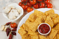 Tortilla chips with hot salsa dip Stock Image