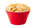 Tortilla chips in a red bowl plastic party tortillas are salty snack associated with parties and watching sporting events often Royalty Free Stock Image