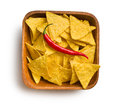 Tortilla chips with red chili pepper in wooden background top view of bowl on white Royalty Free Stock Image
