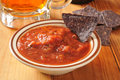 Tortilla chips and salsa blue corn with salaa beer Royalty Free Stock Photo