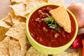 Tortilla Chips With Salsa and Vegetables Close Up Royalty Free Stock Photo