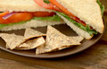 Tortilla chips and vegan sandwich with a Royalty Free Stock Photography