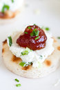 Tortilla goat cheese snack Royalty Free Stock Images