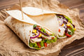 Tortilla with a mix of ingredients Royalty Free Stock Photo