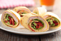 Tortilla roll-ups with ham and vegetables Stock Photos