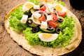 Tortilla and salad bread with fresh spring vegetables cheese Royalty Free Stock Photography