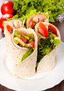 Tortilla sandwiches selective focus on the front Royalty Free Stock Image