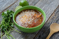 Tortilla Soup with Cheese, Lime, Cilantro Royalty Free Stock Photo