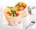 Tortilla wrap with vegetable close up on Stock Image