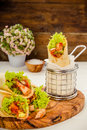 Tortilla wraps with turkey Royalty Free Stock Photo