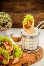Tortilla wraps with turkey Royalty Free Stock Photo