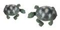 Tortoise figurines on white background Stock Photo