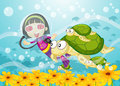 Tortoise and girl in water Royalty Free Stock Photo