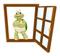 A tortoise in window detailed illustration of Royalty Free Stock Photo