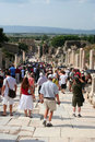 Toruists in ephesus- izmir-turkey Royalty Free Stock Photos