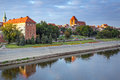 Torun old town reflected in vistula river poland Stock Photography