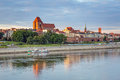 Torun old town reflected in vistula river poland Stock Photo