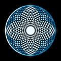 Torus yantra hypnotic eye sacred geometry basic element mandala spiritual drawings bright mandala on a black background Royalty Free Stock Photography