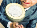 Toss a coin smiling businessman tossing Stock Image