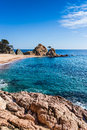 Tossa de mar costa brava beach in a sunny day Royalty Free Stock Photos