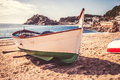 Tossa de mar costa brava beach in a sunny day with vintage colors Stock Photography