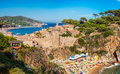 Tossa de mar panoramic view of the medieval castle in costa brava spain Royalty Free Stock Photo