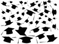 Tossing graduation caps background the of Stock Photo