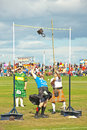 Tossing the weight at nairn over bar competition highland games held on th august Stock Images