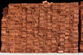 Total block of irregularly stacked building red bricks Royalty Free Stock Photo