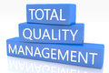 Total quality management d render blue box with text on it on white background with reflection Royalty Free Stock Photo